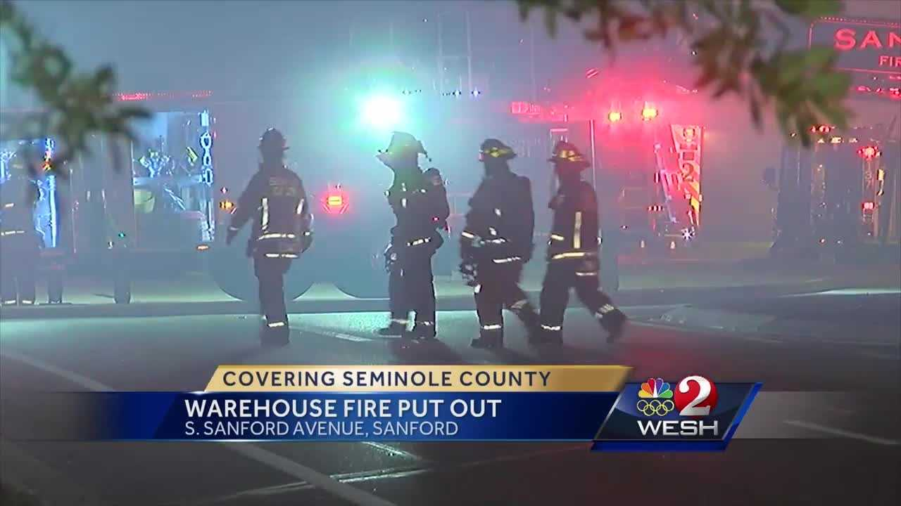 Fire investigators are looking into the cause of a blaze at a warehouse in Sanford overnight.