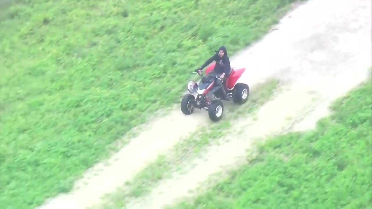 A suspect in a vandalism case led authorities on a chase while riding an ATV in the Miami area Wednesday.