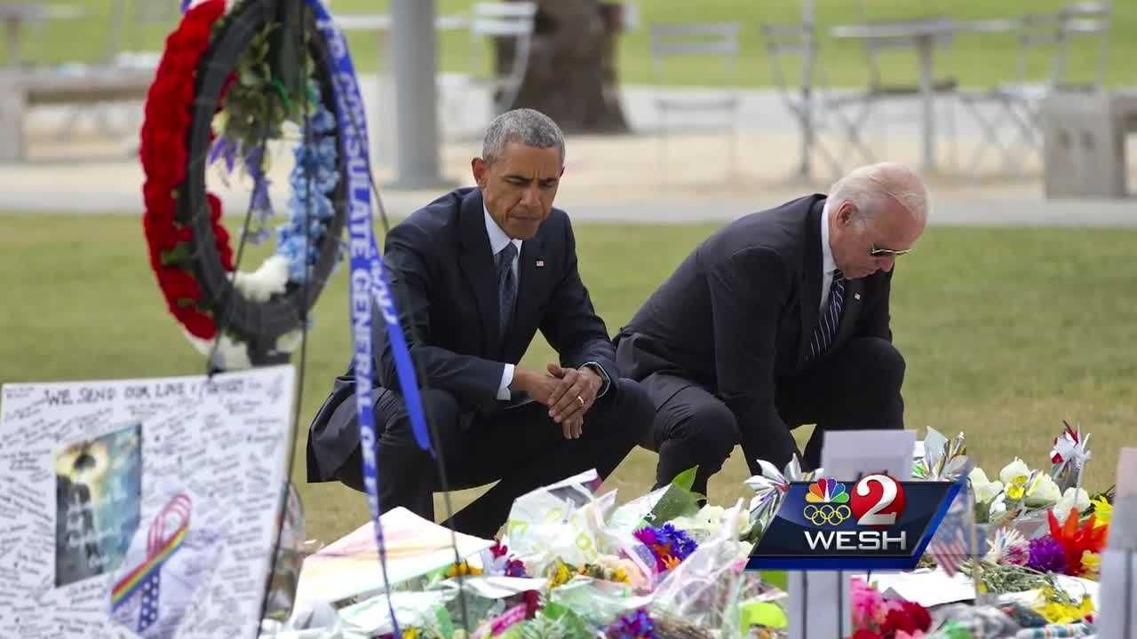 The president was part of Orlando United following the Pulse massacre. He and the vice president touched down and brought their motorcade through town to the Amway Center to spend a few hours with survivors and families of victims. Matt Lupoli reports.