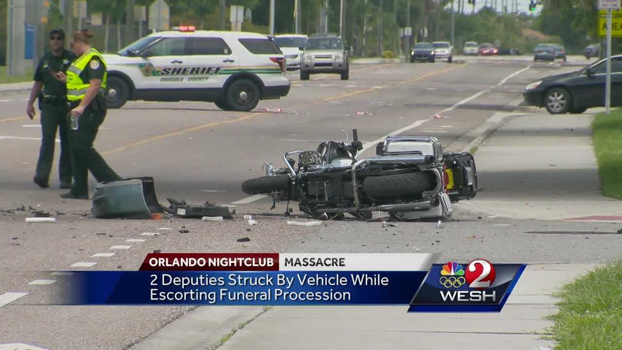 Two Osceola County sheriff's deputies were injured in a crash that occurred during the funeral procession for a victim of the Pulse nightclub shooting.