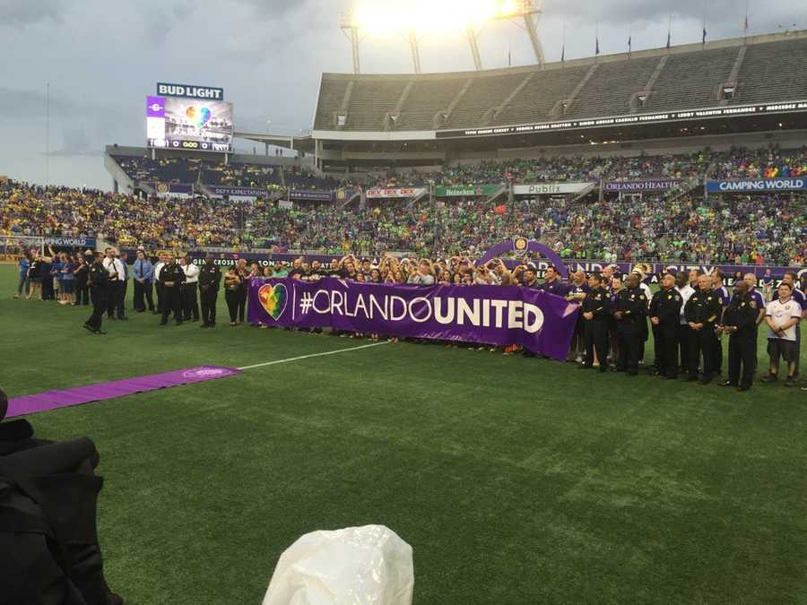See photos from Saturday's Orlando City soccer match. The team and fans showed their support for those killed in last week's mass shooting at the Pulse nightclub.