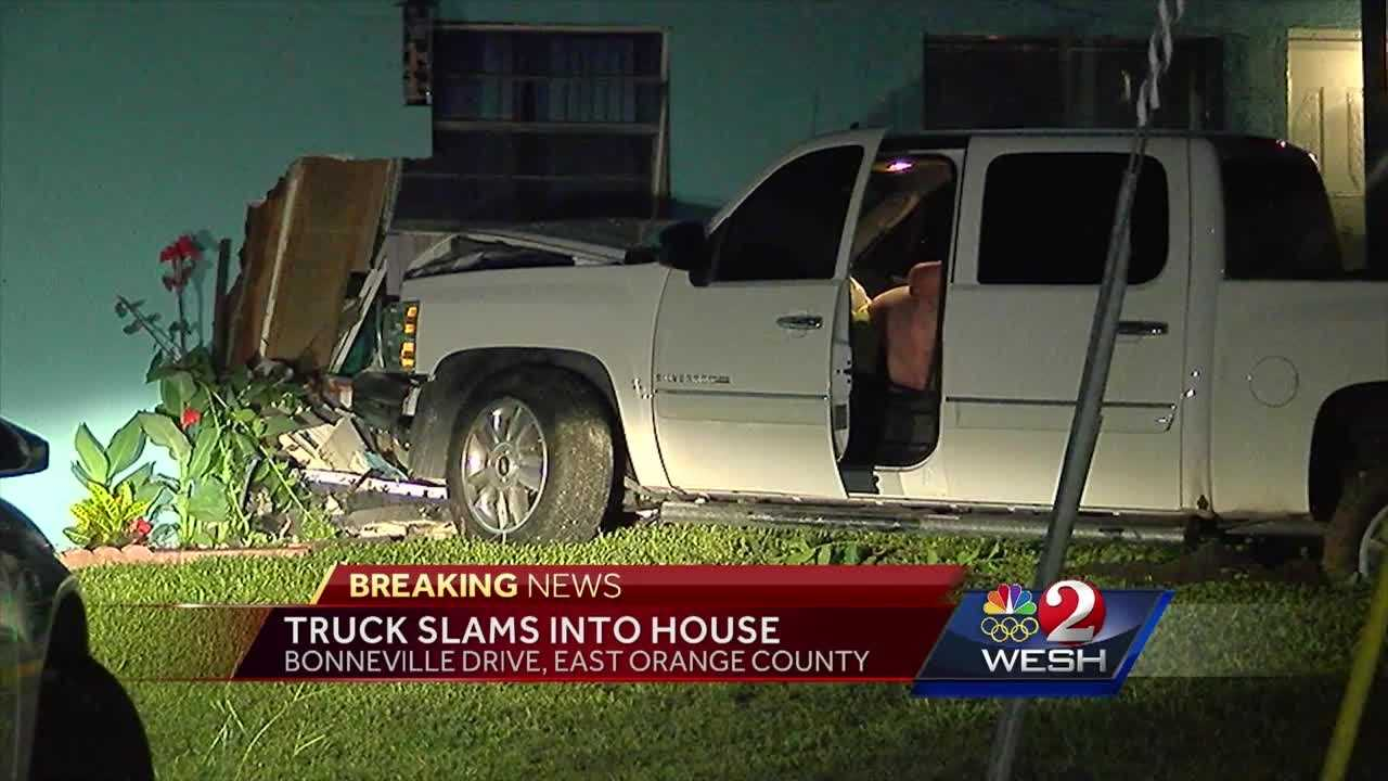 A truck smashed into an East Orange County home overnight.