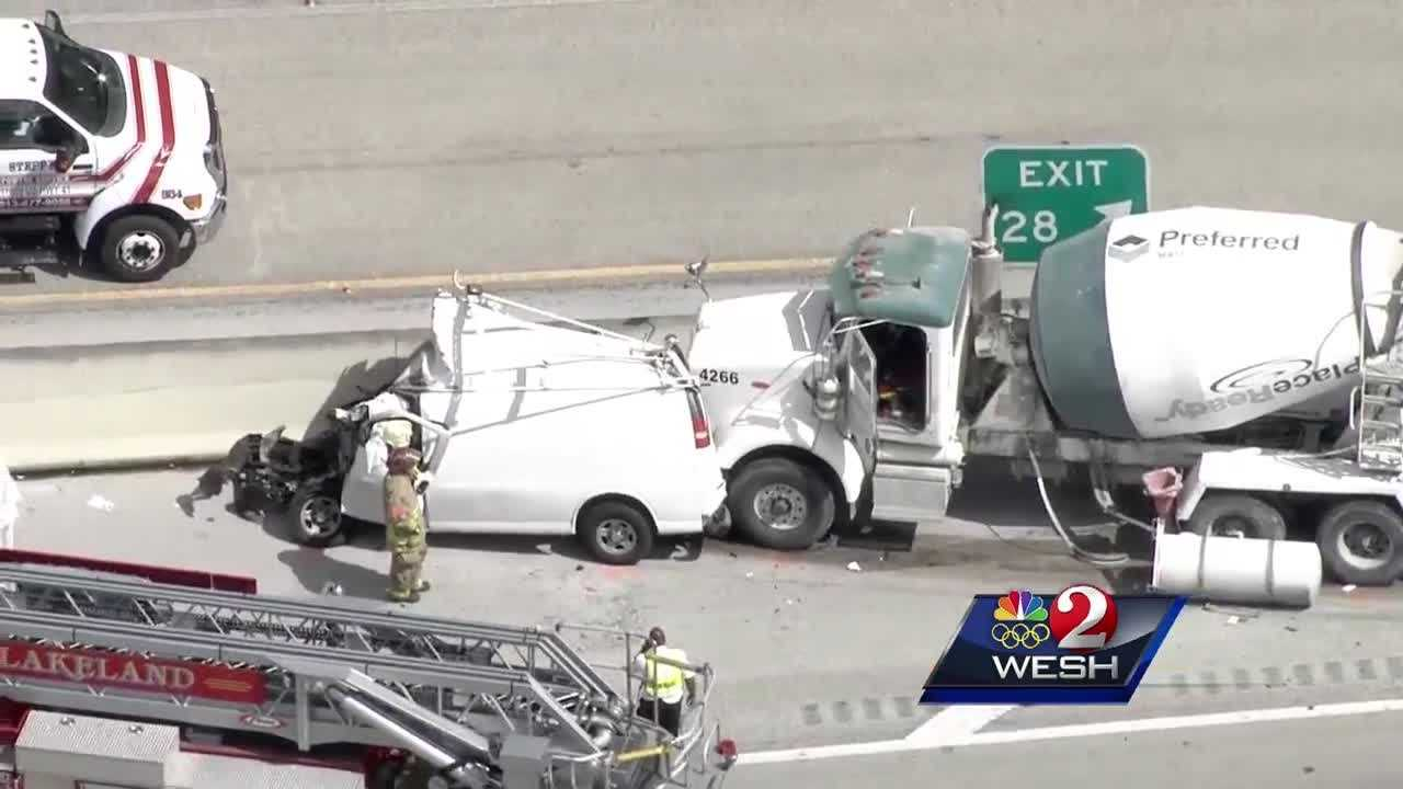 A pickup truck traveling on Interstate 4 in Lakeland Tuesday morning swerved into oncoming traffic and struck several vehicles, the Florida Highway Patrol said.