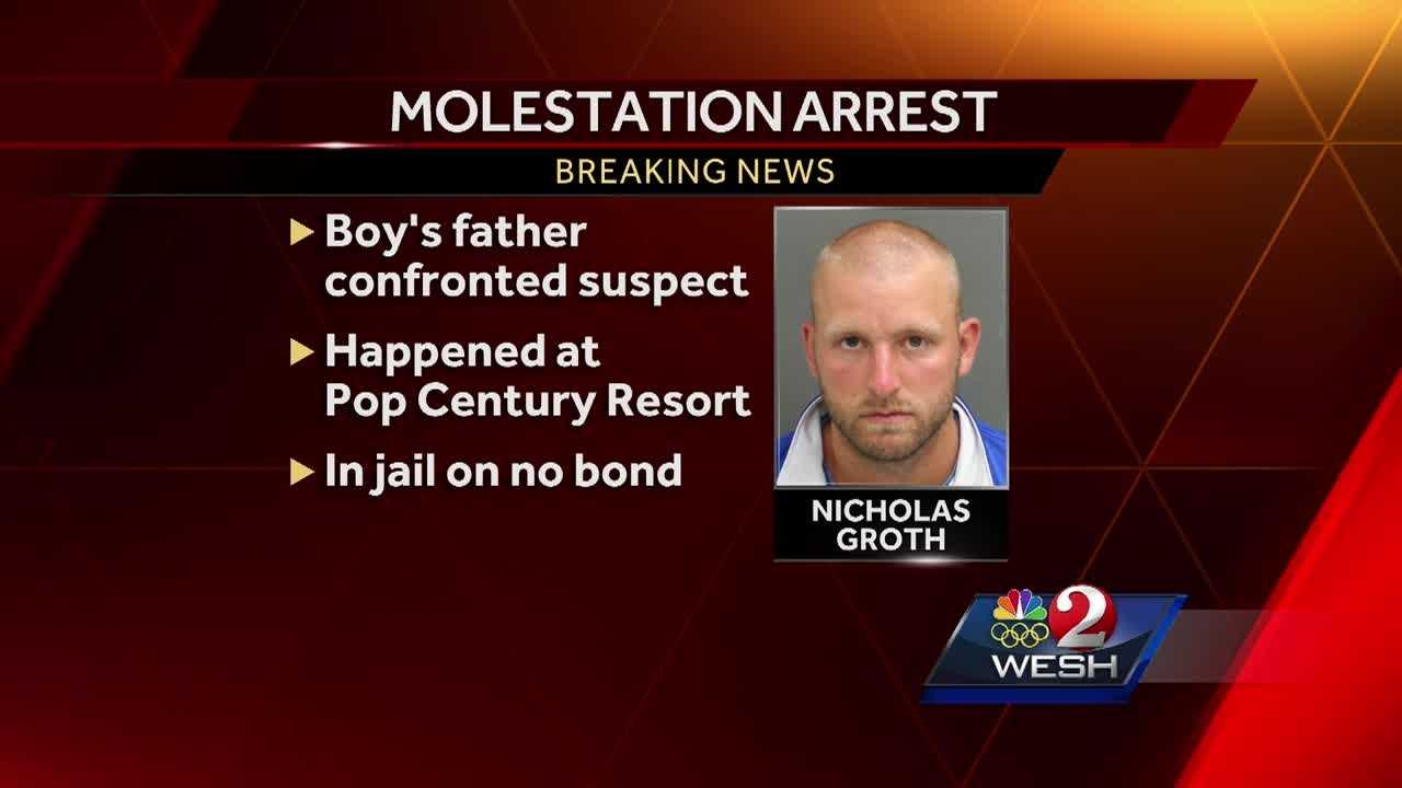 A youth baseball coach was arrested and charged with four counts of lewd and lascivious molestation after a child reported being inappropriately touched in the pool at Disney's Pop Century Resort.