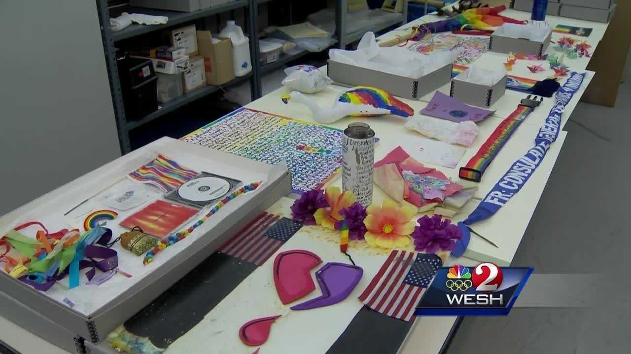 One month after the Pulse shooting, more than 2,000 items have been collected from memorials across Orlando. Amanda Crawford reports.
