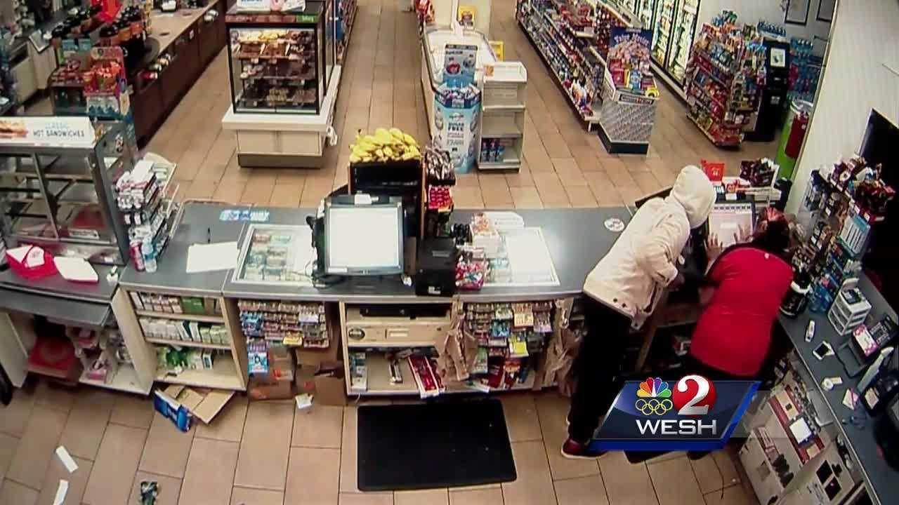 A 25-year-old store clerk fought back during an armed robbery at a Volusia County store. Claire Metz reports.