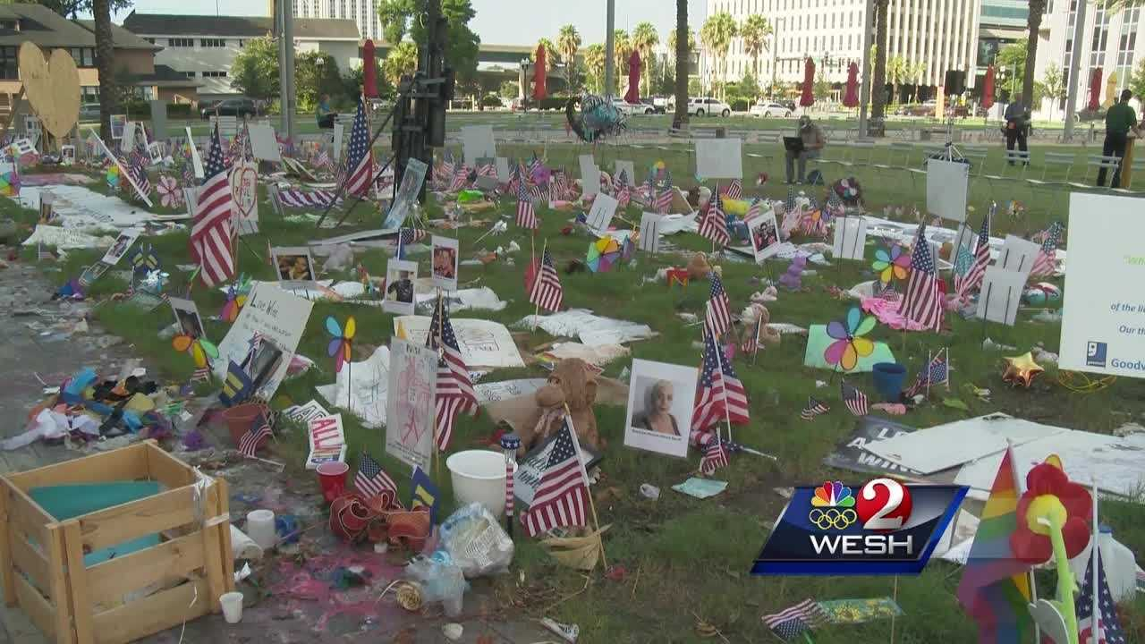 Local Boy Scouts took part in a ceremony marking the final cleanup at the makeshift memorial to the Pulse shooting victims. Hadas Brown has the story.