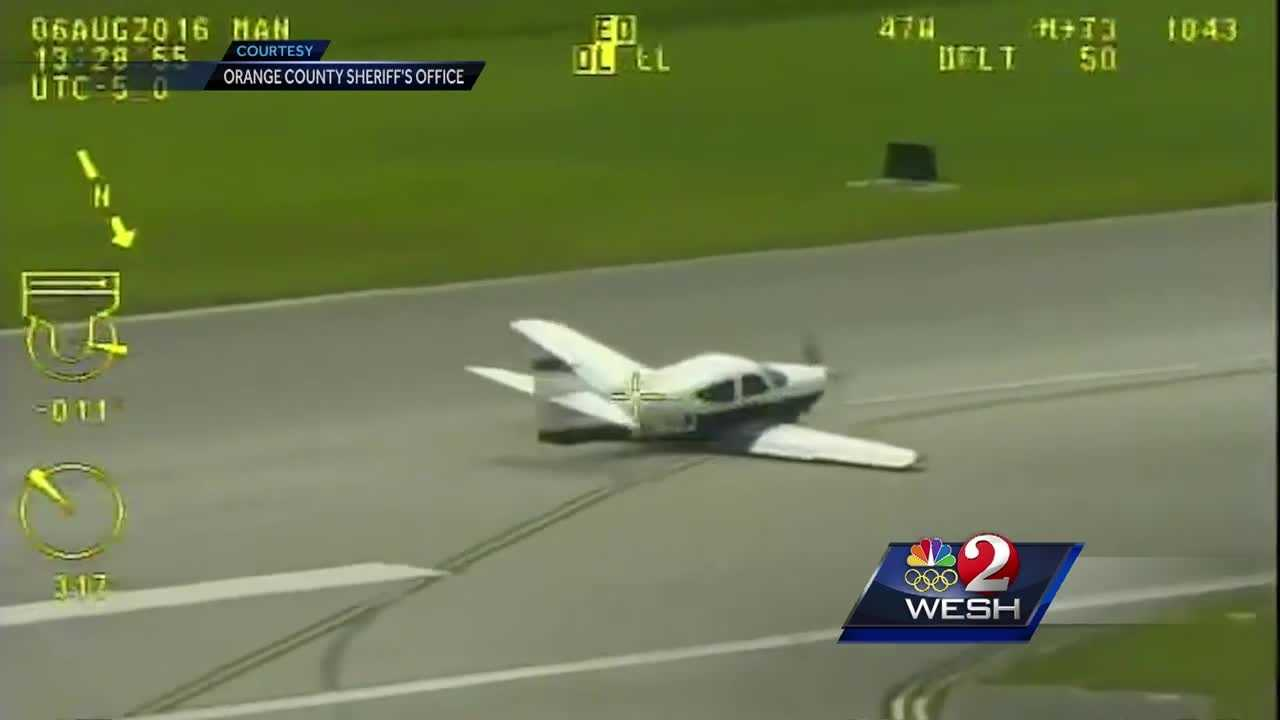 Dramatic video captured the moment a small plane safely landed at Orlando Executive Airport without its landing gear.