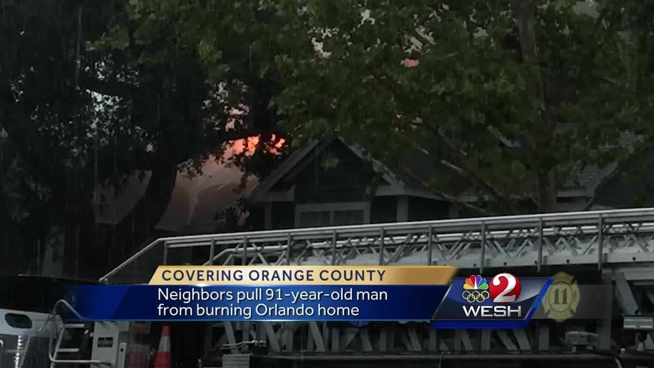 Neighbors pulled a 91-year-old man from his burning Orange County home Friday. The man was pulled to safety as the ceiling began to collapse. Chris Hush reports.