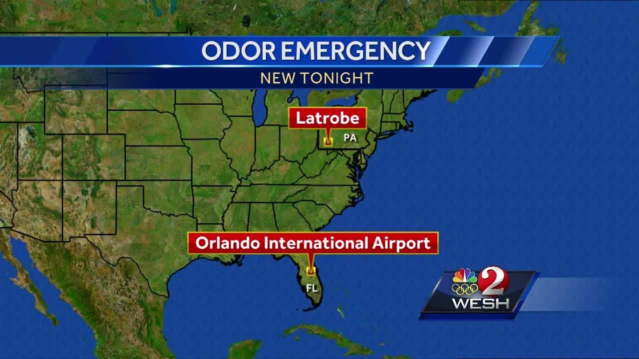 Several people were hospitalized after a strange odor was detected onboard a flight from Orlando that was headed to Pennsylvania.