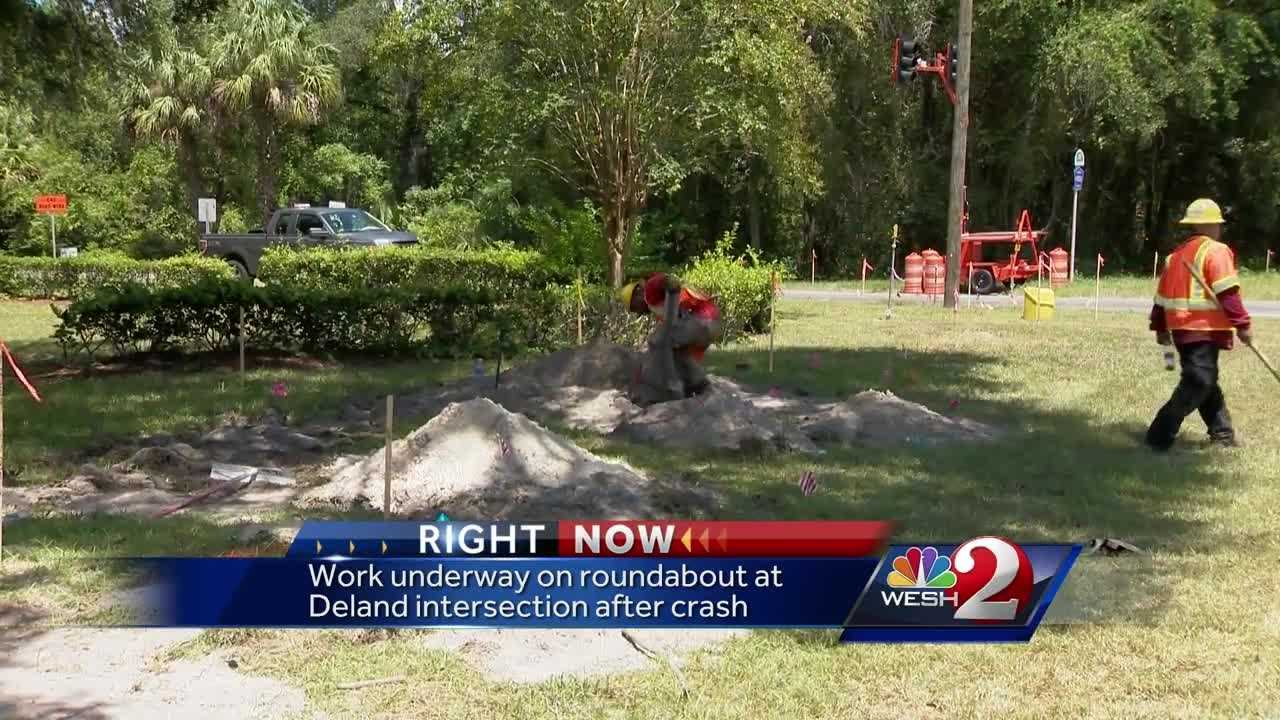 Road work has begun on a roundabout in DeLand at an intersection that was the scene of a deadly crash earlier this year. Dave McDaniel reports.