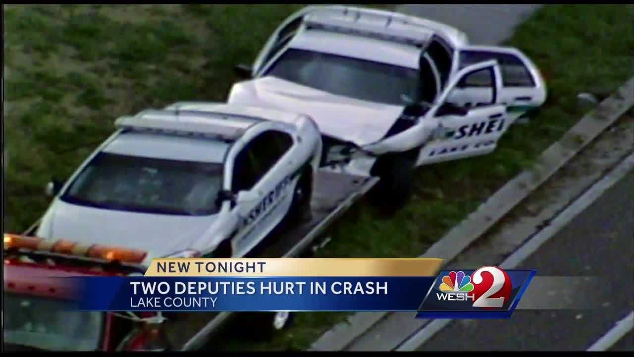 Two deputies are recovering after both of their patrol cars were hit during a crash in Lake County. They were helping a stranded driver Friday afternoon when they said a truck hauling a trailer lost control.