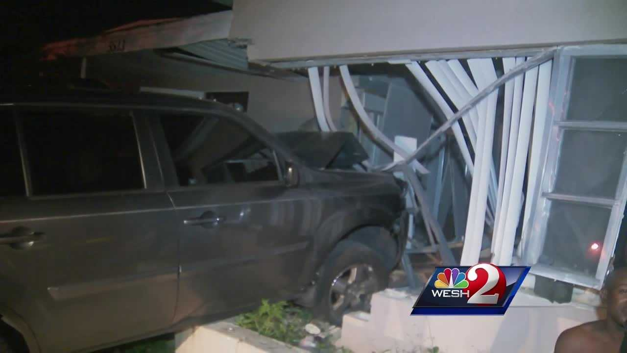 The driver crashed the car into the Balboa Drive home in the Pine Hills neighborhood, then took off.