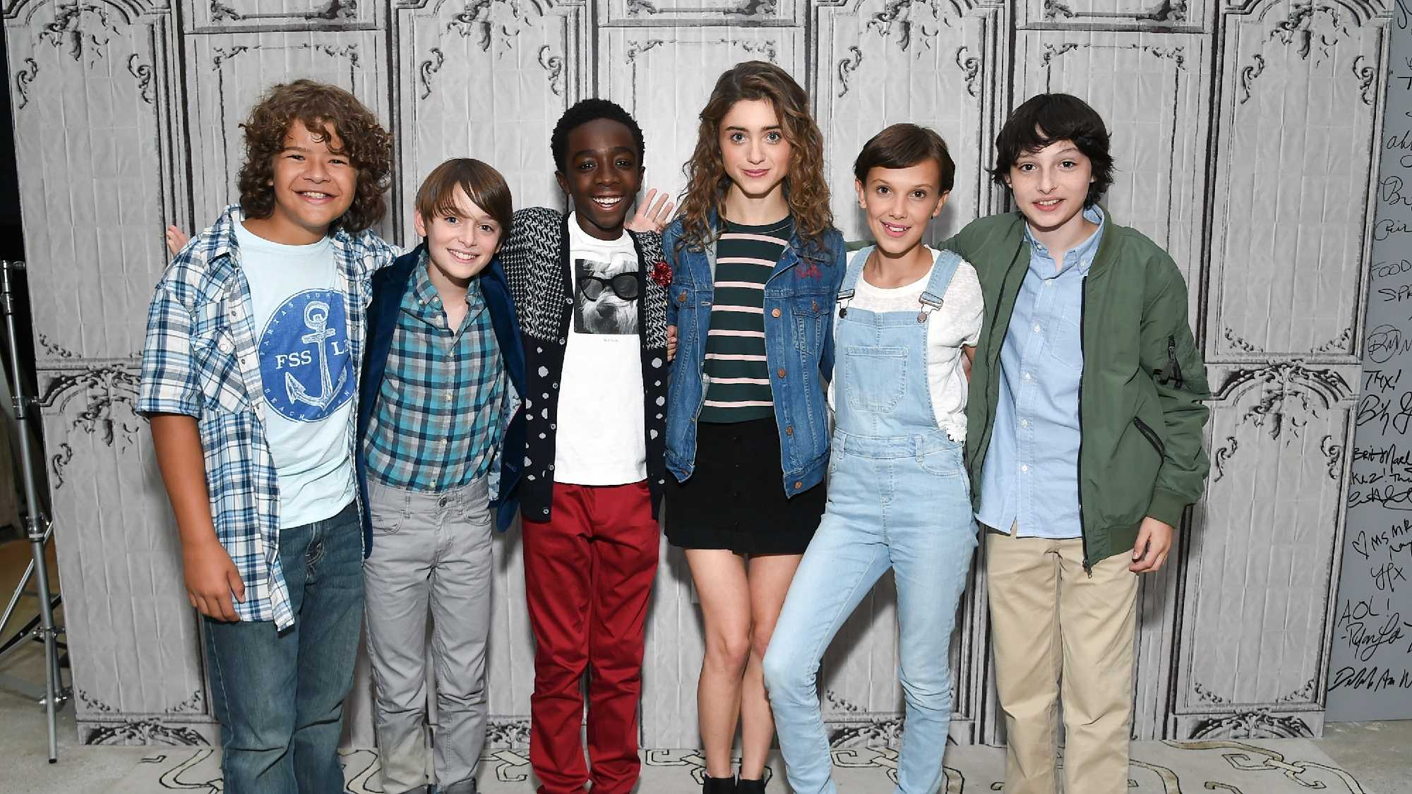 "Actors from left to right, Gaten Matarazzo, Noah Schnapp, Caleb McLaughlin, Natalia Dyer, Millie Bobby Brown and Finn Wolfhard participate in the BUILD Speaker Series to discuss the Netflix series, ""Stranger Things"", at AOL Studios on Wednesday, Aug. 31, 2016, in New York."