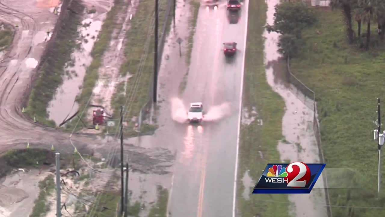 Heavy rains Monday afternoon meant cars traveling on Wymore Road had to plow through water. Dave McDaniel reports.