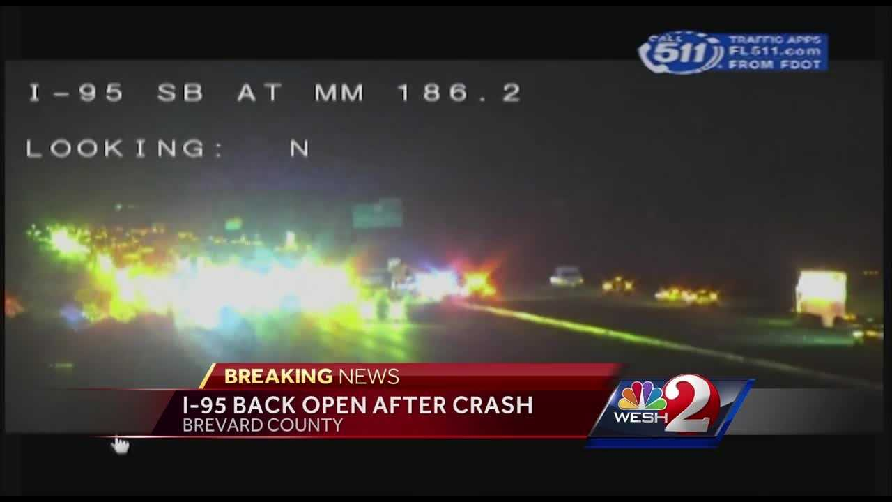 Southbound I-95 was temporarily shut down Tuesday night at around 8:15 p.m. due to a crash, according to Brevard County fire officials.