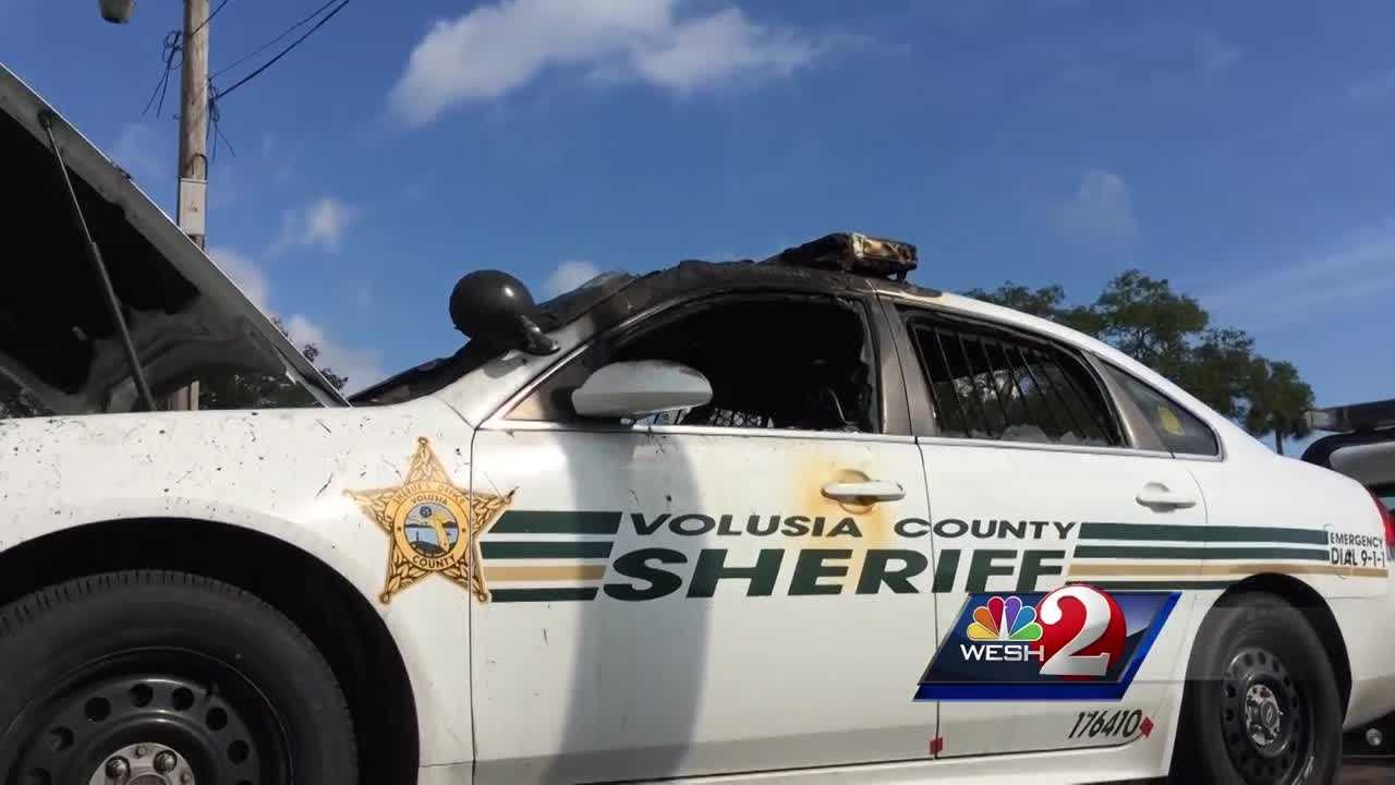 A Volusia County sheriff's patrol cruiser is among two vehicles that were found torched in a locked compound in Holly Hill overnight. Claire Metz has the latest update.