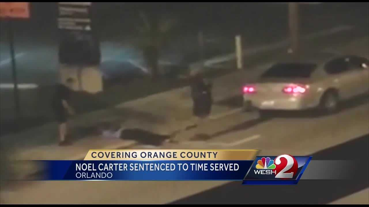 Noel Carter, the man convicted of battery on a police officer after cellphone video showed officers kicking him, was sentenced Monday in Orange County. Summer Knowles reports.