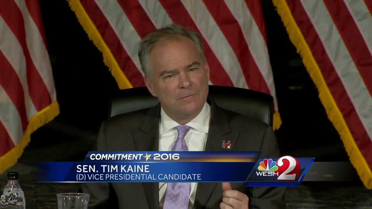 Democratic vice presidential candidate Tim Kaine is watching the first presidential debate Monday night with supporters in Orlando. Alex Villarreal reports.