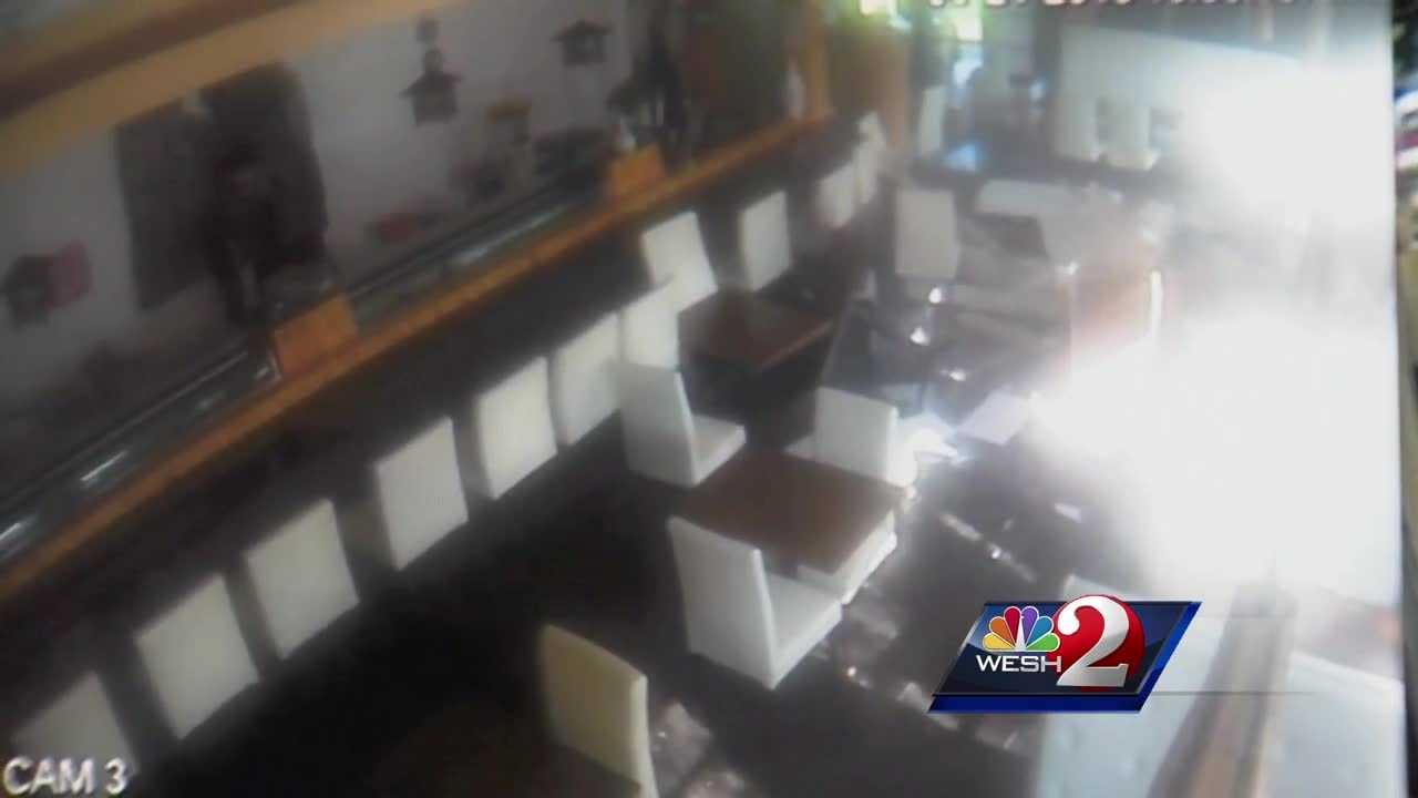 Nobody was injured after a car crashed into an Orlando sushi restaurant Saturday morning.