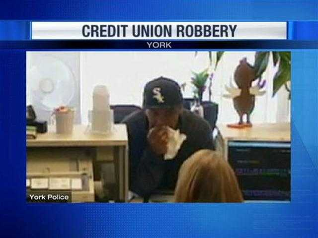 The man who robbed the White Rose Credit Union Monday held a tissue over his face during the robbery.
