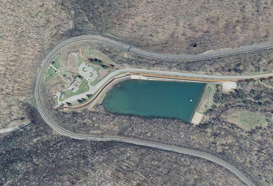 Horseshoe Curve, located near Altoona, was completed in 1854 by the Pa. Railroad.