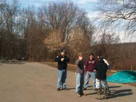 Friends of Herr gather at the Muddy Creek boat Launch in York county on Tuesday afternoon.