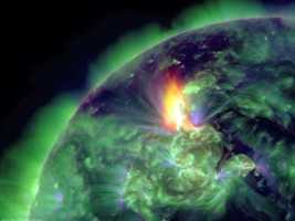 Solar flares are powered by the sudden release of magnetic energy stored in the corona, a type of plasma atmosphere of the Sun.