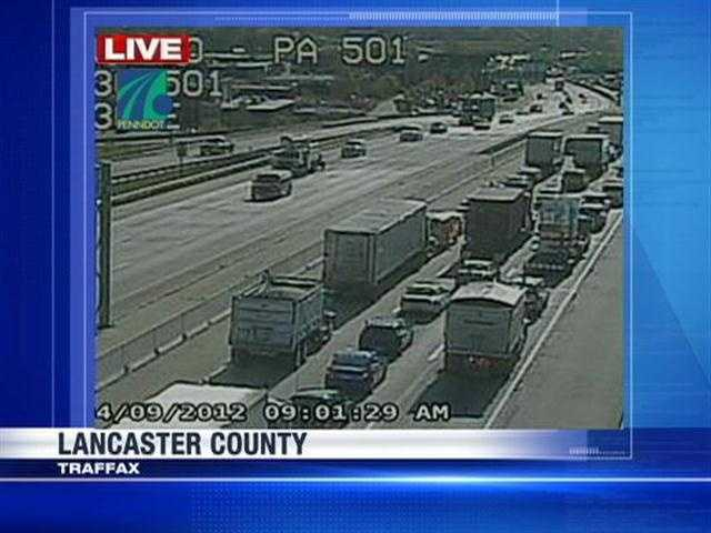 This is traffic backed up on Route 30 eastbound at Lititz Pike.