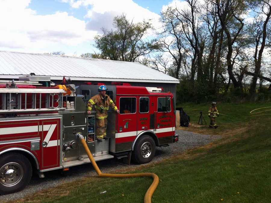 Crews battled a brush fire in Lower Windsor Township, York County, on Monday morning.