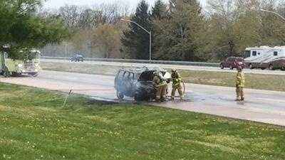 This is the scene of the SUV fire on Interstate 81 southbound.
