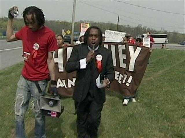 Dozens of HIV and Aids rights activists protested outside Hersheypark over the weekend.