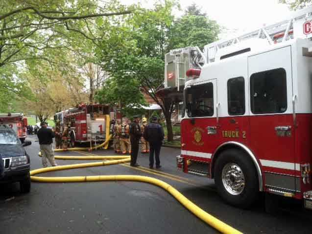 The home suffered significant damage. Fire officials think the blaze started in the basement.