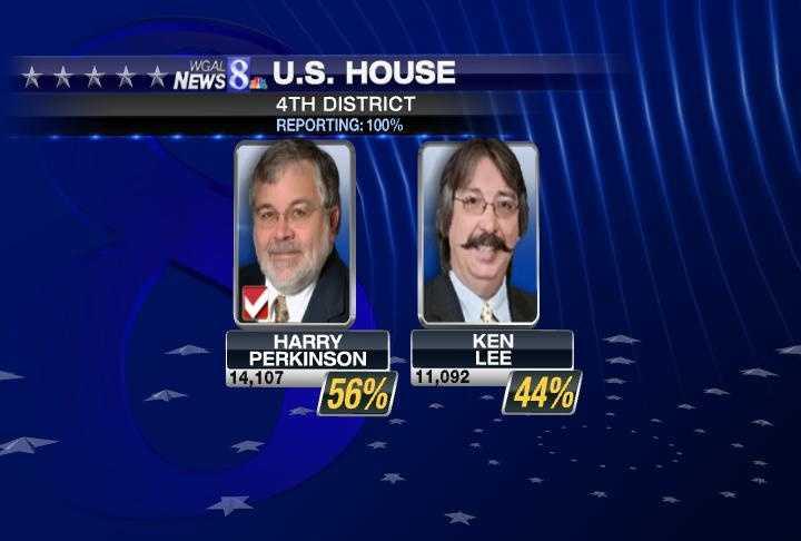 Perry will face Democrat Harry Perkinson in November.
