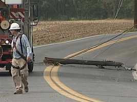 Met-Ed crews were working at Witmer Road and Beadsley Drive to shut off electricity to the lines about 5 p.m. Thursday.