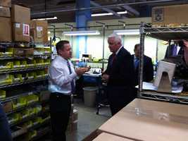 Gov. Tom Corbett visited the Pennsylvania Scale Company in Lancaster Friday.