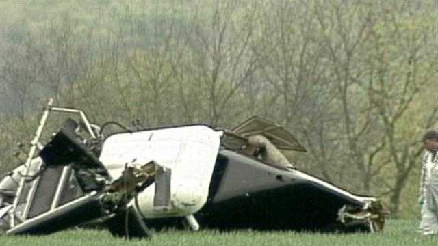A helicopter crashed Friday morning while spraying a farm field near Lawn, Lebanon County.