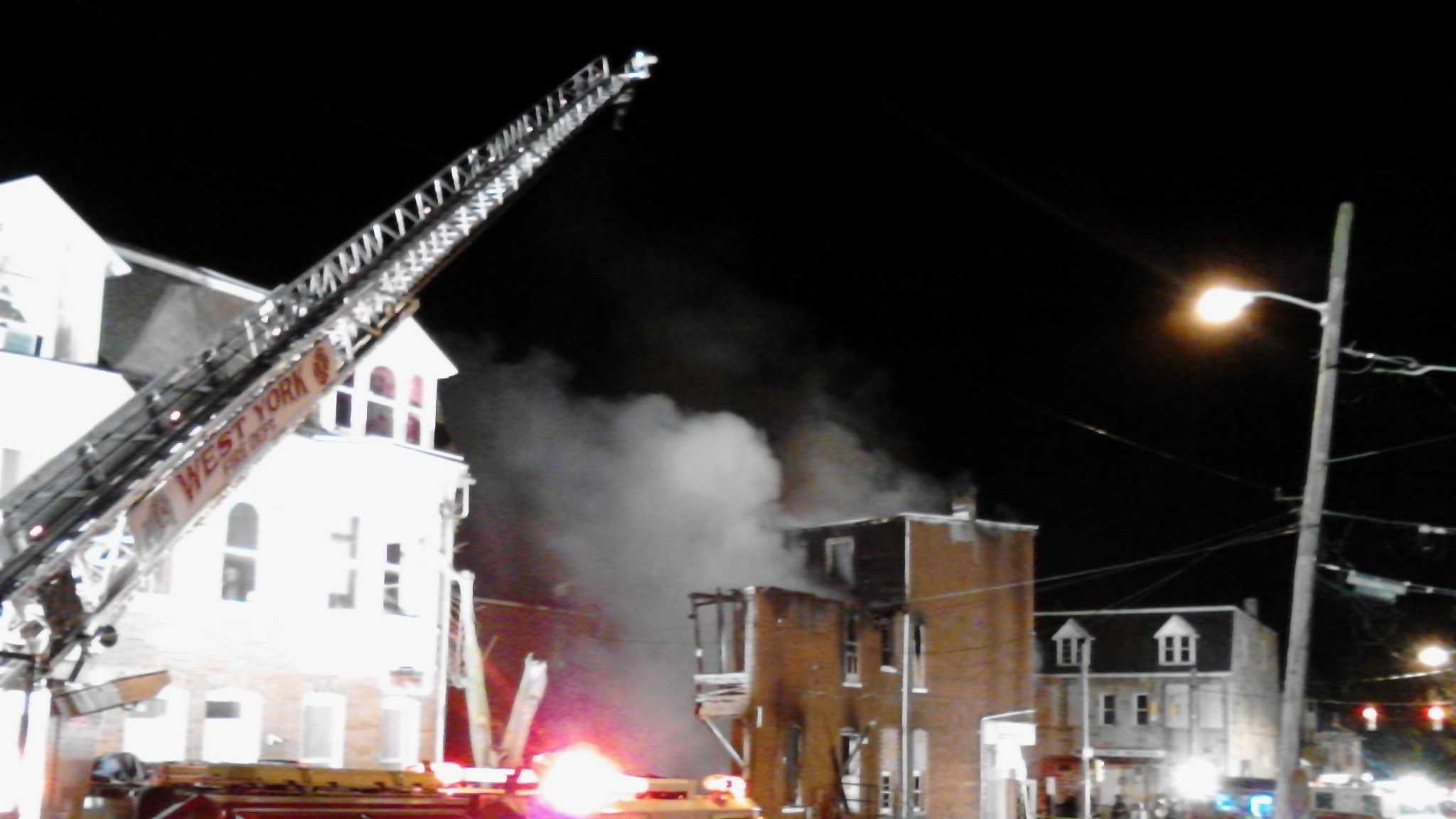 Firefighters battle a blaze in the 500 block of West Princess Street in York.