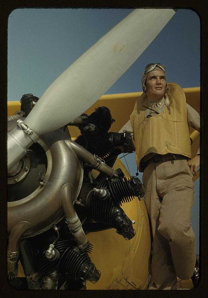 Marine lieutenant, pilot with the power towplane for the training gliders at Page Field in Parris Island, S.C. Alfred T. Palmer took this photo in May 1942.