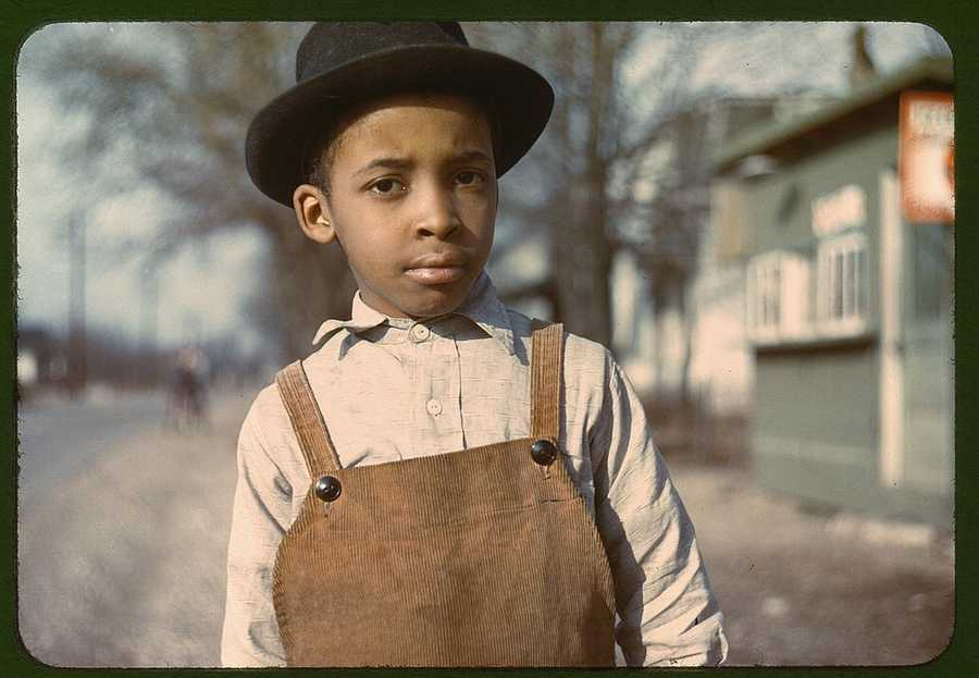 Portrait of a boy near Cincinnati, Ohio, taken by John Vachon in either 1942 or 1943.