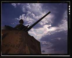 Tank commander in Ft. Knox, Ky. Alfred T. Palmer took this photo in June 1942.
