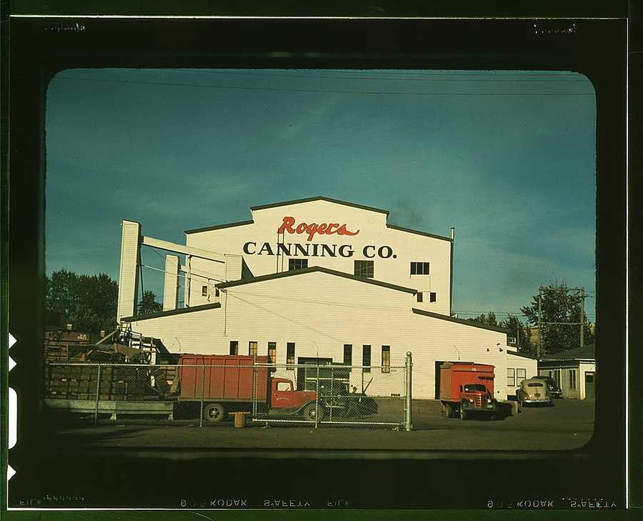Canning plant in Milton-Freewater, Oregon where peas are the principal project. Russell Lee took this photo in July 1941.