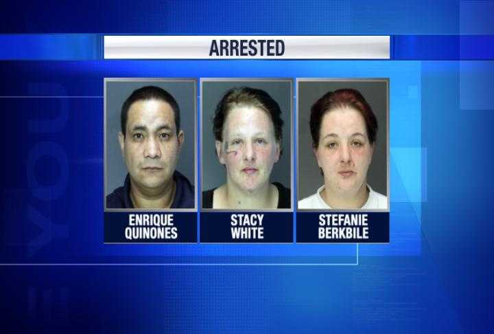 Enrique Quinones, 39, entered the school several times with the juveniles, investigators said. Stacy White, 38, and Stefanie Berkbile, 35, helped Quinones after the burglaries, police said. Some of the stolen items were sold in the city's Uptown and Midtown sections, and the buyers may not know the items were stolen, investigators said. Police urge the buyers to come forward.