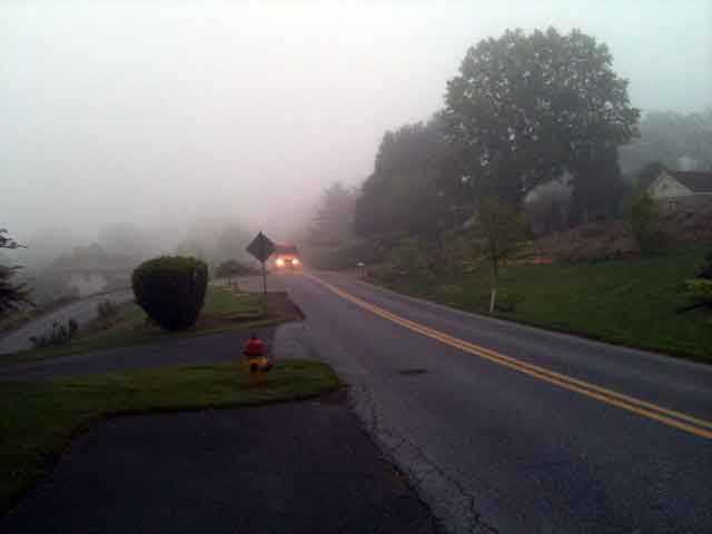 Patchy fog is visible in some areas Friday morning, including this Manheim Township neighborhood.