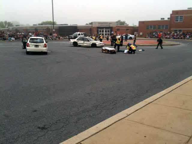 These photos show a mock crash at Elizabethtown High School.