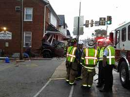 A pickup truck crashed into a historic building early Wednesday in Manchester, York County.