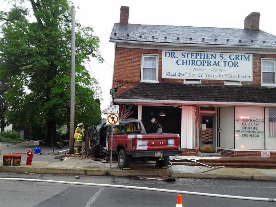 About 5 a.m. Wednesday, the truck lost control while traveling west on Maple Street and hit the building along Main Street.