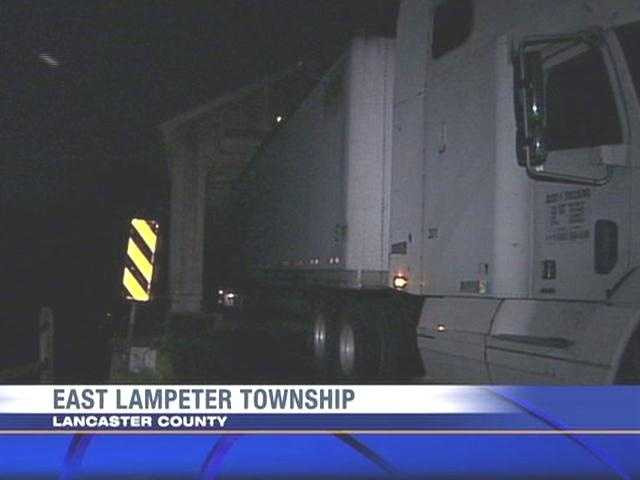 A tractor-trailer got stuck Wednesday night in a Lancaster County covered bridge that was originally built in the 1800s.