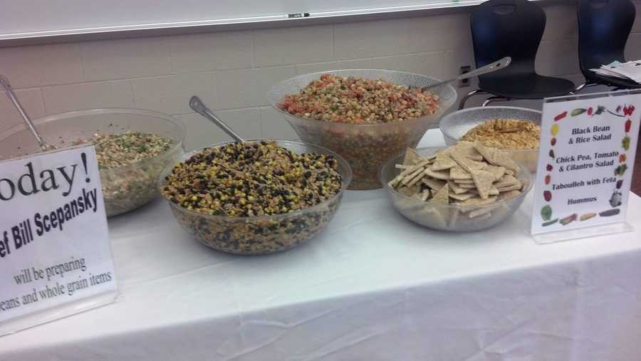 The healthier items included black bean and rice salad and hummus.