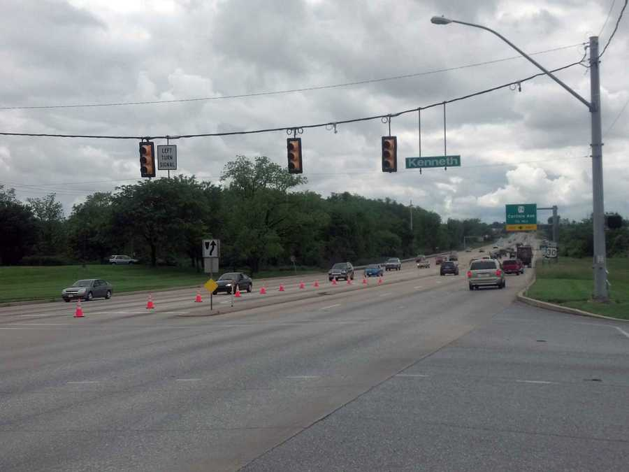 As of about 1:45 p.m., the traffic signals at Route 30 and Kenneth Road were out.